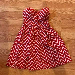 Rue21 Red and White Chevron Strapless Dress